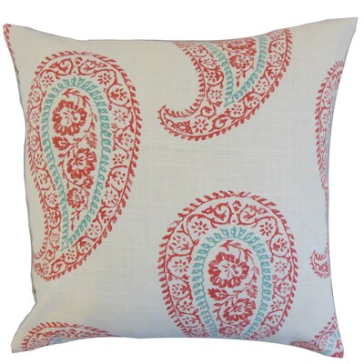 Neith Paisley Throw Pillow Color: Coral, Size: 22 x 22