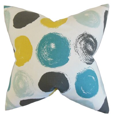 Xenophon Geometric Cotton Throw Pillow Color: Blue Dot, Size: 24 x 24