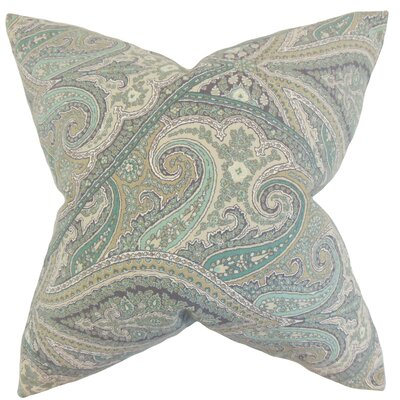 Uma Paisley Cotton Throw Pillow Color: Aquamarine, Size: 24 x 24
