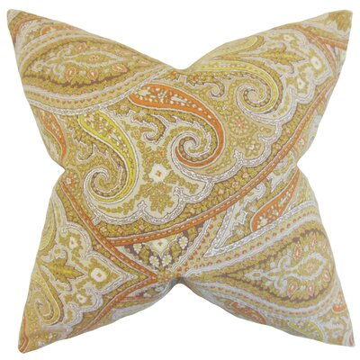 Uma Paisley Cotton Throw Pillow Color: Kiwi, Size: 24 x 24