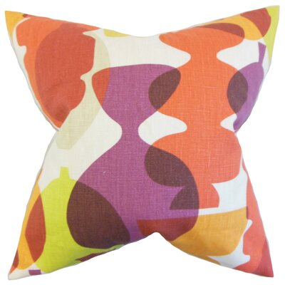 Orla Geometric Linen Throw Pillow Color: Beet Root, Size: 18 x 18