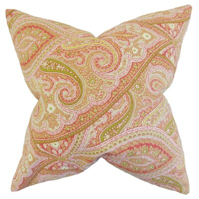 Uma Paisley Cotton Throw Pillow Color: Melon, Size: 24 x 24