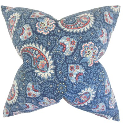 Wylda Paisley Cotton Throw Pillow Color: Marine, Size: 24 x 24