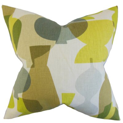 Orla Geometric Linen Throw Pillow Color: Sour Green, Size: 18 x 18