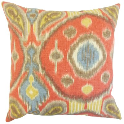 Janvier Ikat Linen Throw Pillow Color: Grenadine, Size: 18 x 18