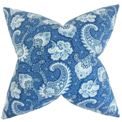 Wylda Paisley Cotton Throw Pillow Color: Ocean, Size: 22 x 22