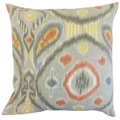 Janvier Ikat Linen Throw Pillow Color: Mineral, Size: 24