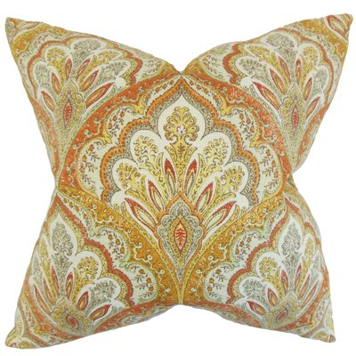 Xanthipe Paisley Cotton Throw Pillow Color: Amber, Size: 22 x 22