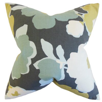 Saar Floral Cotton Throw Pillow Color: Charcoal