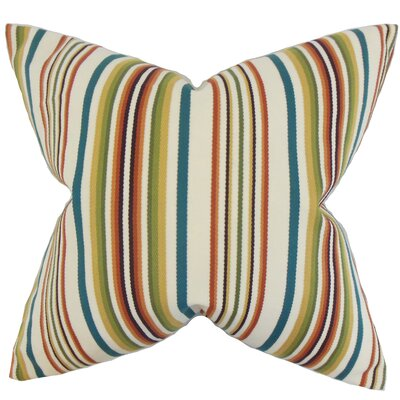 Magaidh Stripes Cotton Throw Pillow Color: Multi, Size: 18 x 18