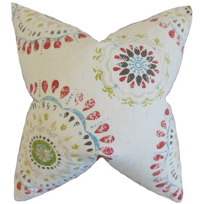 Hali Geometric Cotton Throw Pillow Color: Coral, Size: 18 x 18