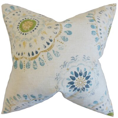 Hali Geometric Cotton Throw Pillow Color: Rain, Size: 18 x 18