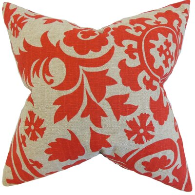 Wella Florla Throw Pillow Color: Red, Size: 24 x 24