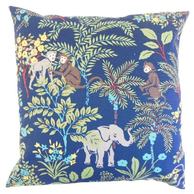 Fiametta Foliage Throw Pillow Color: Blue, Size: 18 x 18