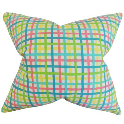 Manon Plaid Cotton Throw Pillow Color: Pink, Size: 18 x 18