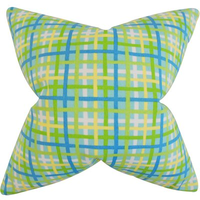 Manon Plaid Cotton Throw Pillow Color: Turquoise, Size: 22 x 22