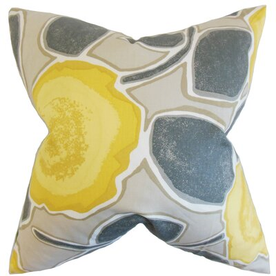Carlin Floral Cotton Throw Pillow Color: Gray, Size: 18 x 18