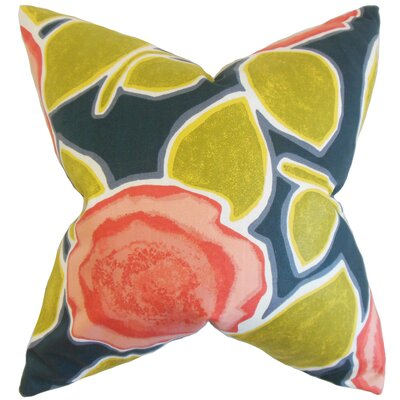 Carlin Floral Cotton Throw Pillow Color: Poppy, Size: 18 x 18