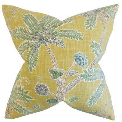 Mead Floral Cotton Throw Pillow Color: Amber, Size: 18 x 18
