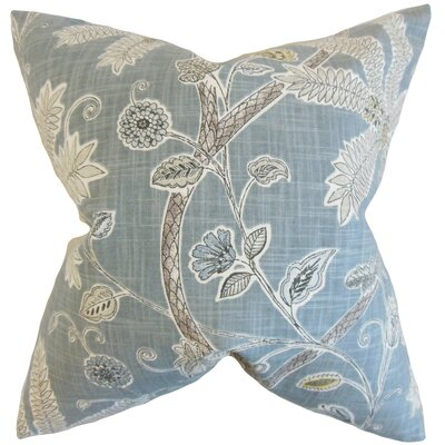 Mead Floral Cotton Throw Pillow Color: Mineral, Size: 18 x 18