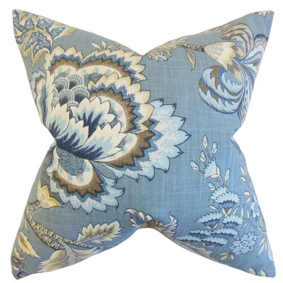Oberon Floral Cotton Throw Pillow Color: Indigo