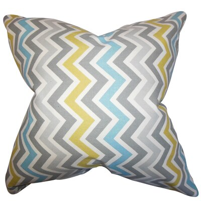 Howel Zigzag Cotton Throw Pillow Color: Gray Blue, Size: 18 x 18