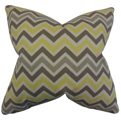 Howel Zigzag Cotton Throw Pillow Color: Yellow, Size: 18 x 18