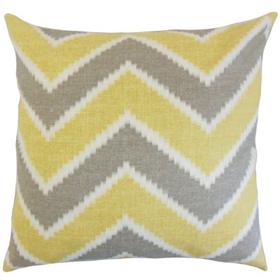 Hoku Zigzag Linen Throw Pillow Color: Chamois, Size: 18 x 18