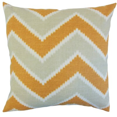 Hoku Zigzag Linen Throw Pillow Color: Papaya, Size: 24 x 24