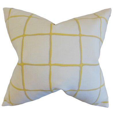 Berthold Checked Cotton Throw Pillow Color: Citrine, Size: 18 x 18