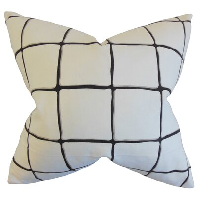 Berthold Checked Cotton Throw Pillow Color: Ink, Size: 22