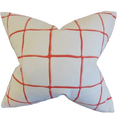Berthold Checked Cotton Throw Pillow Color: Poppy, Size: 18