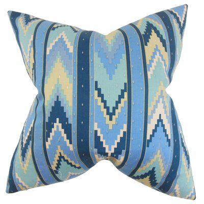 Amadis Geometric Cotton Throw Pillow Color: Blue, Size: 18 x 18