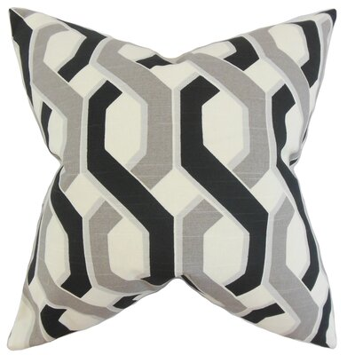 Chauncey Geometric Cotton Throw Pillow Color: Grey Black, Size: 24 x 24