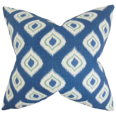 Dai Ikat Cotton Throw Pillow Color: Blue, Size: 18 x 18