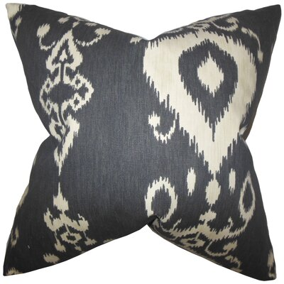 Katti Ikat Cotton Throw Pillow Color: Black Beige, Size: 24 x 24