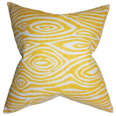 Thirza Swirls Cotton Throw Pillow Color: Yellow, Size: 24 x 24
