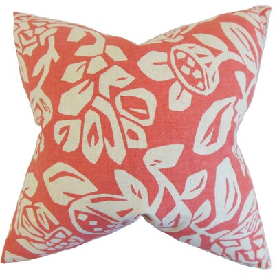 Izzy Floral Cotton Throw Pillow Color: Coral