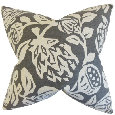 Izzy Floral Cotton Throw Pillow Color: Gray