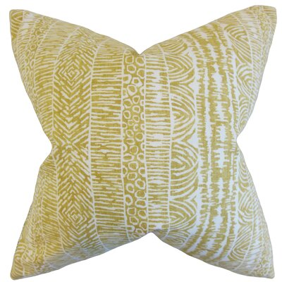Jem Striped Cotton Throw Pillow Color: Amber, Size: 18