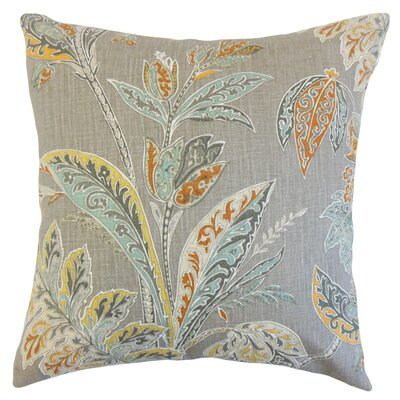Taja Floral Linen Throw Pillow Color: Turmeric, Size: 18 x 18