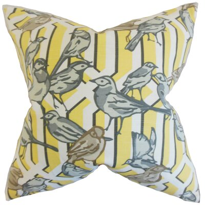 Bela Aviary Cotton Throw Pillow Color: Yellow, Size: 22 x 22