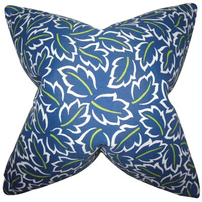 Kateri Foliage Cotton Throw Pillow Color: Blue, Size: 22 x 22