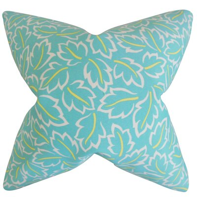 Kateri Foliage Cotton Throw Pillow Color: Turquoise, Size: 18 x 18