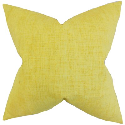 Leda Solid Throw Pillow Color: Lemon, Size: 18 x 18