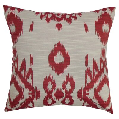 Gaera Ikat Throw Pillow Color: Hot Pepper, Size: 18