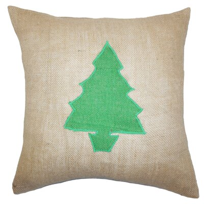 Holiday Christmas Tree Burlap Throw Pillow Color: Green