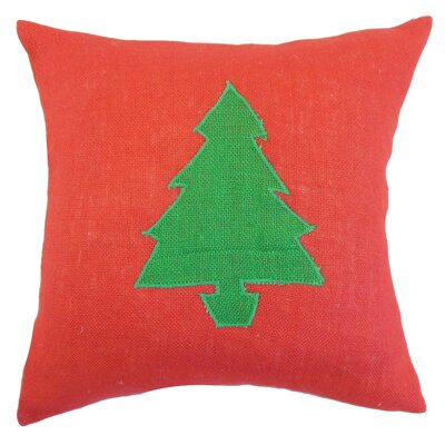 Holiday Christmas Tree Burlap Throw Pillow Color: Red