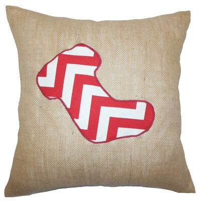 Holiday Christmas Stocking Burlap Throw Pillow Color: Red