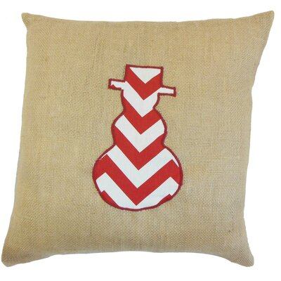 Holiday Snowman Burlap Throw Pillow